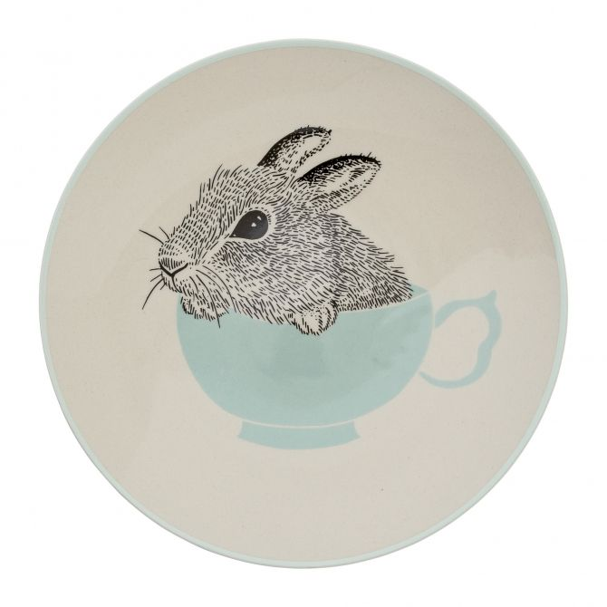 Bloomingville Plate Albert off white/mint mouse